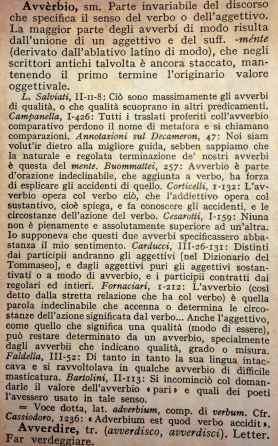 """'Avverbio' in: Battaglia S., """"Grande dizionario della lingua italiana"""", UTET, 1961."""